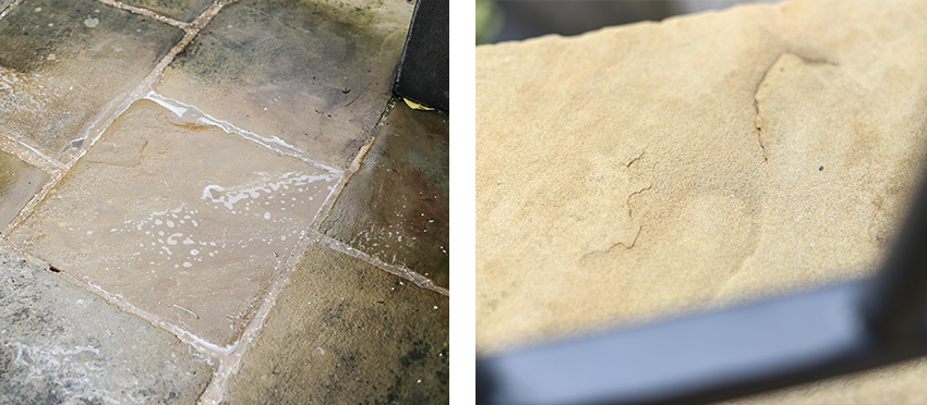 Before and after black spot removal.