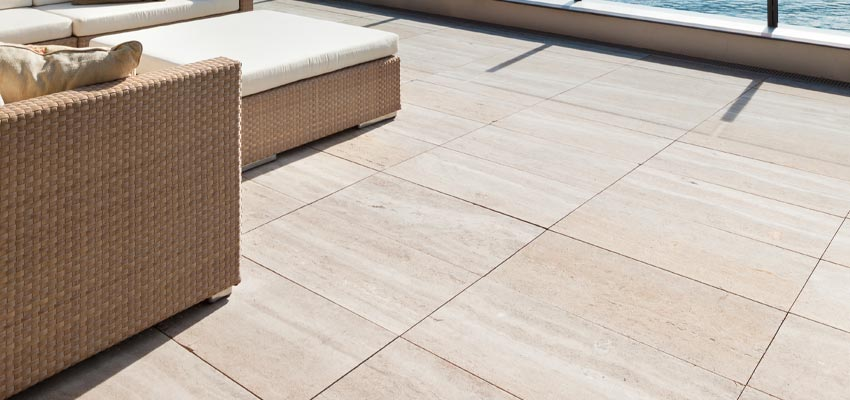 outdoor patio with porcelain floor tiling